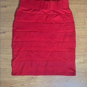 Brat Star Mid-length Bodycon Red Skirt Size Med